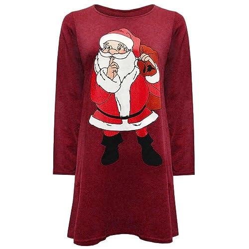 Reasoncool Vestito, Rotonda sexy delle donne del collare modo del vestito a maniche lunghe Babbo Natale (XL-Busto:40.9″, Rosso)