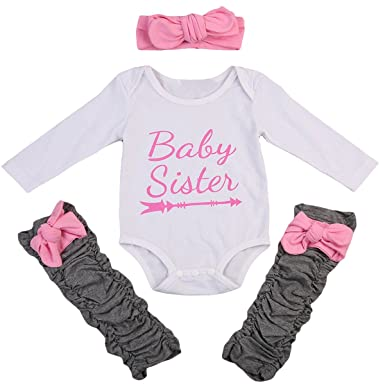 9fd687599a2f 3Pcs Newborn Infant Baby Girls Clothes Tops Romper Bowknot Warm Leggings  Outfit with Headband Set (