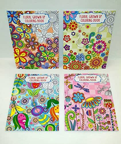 Set of 4 Vision St Adult Coloring Books Floral Grown Up 32 Page Coloring Books (You Get 4 Different Books)