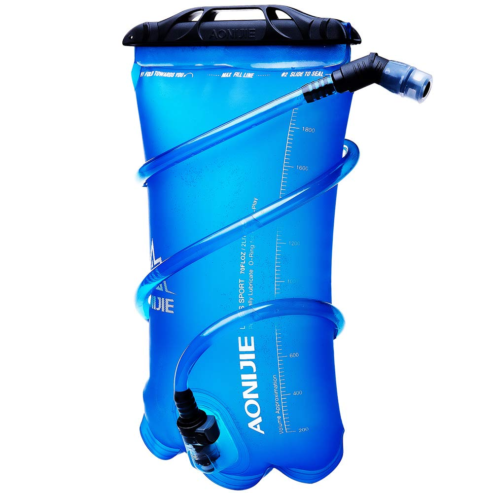 JHuuu 1.5L/2L Hydration bladders for backpacks Foldable TPU Water Bag Leak-Proof Water Bladder BPA Free Water Reservoir bladder For Outdoor Sport Running Camping Hiking Bicycle