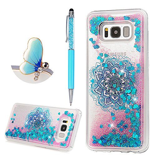 S8 Plus Case, Flowing Liquid 3D Glitter TPU Silicone Quicksand Case Floating Moving Bling Hearts Sparkly Print Clear Shockproof Gel Protective Cover for Samsung Galaxy S8 Plus by YOKIRIN, Floral Totem