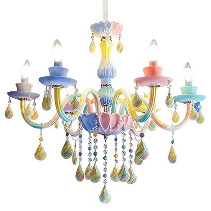 Amazon.com: Pendant Lights Children\'s room rainbow crystal ...