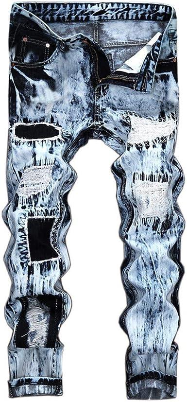 Pantalones Vaqueros Rotos Hombre, Vintaje Retro Jeans Pantalones ...