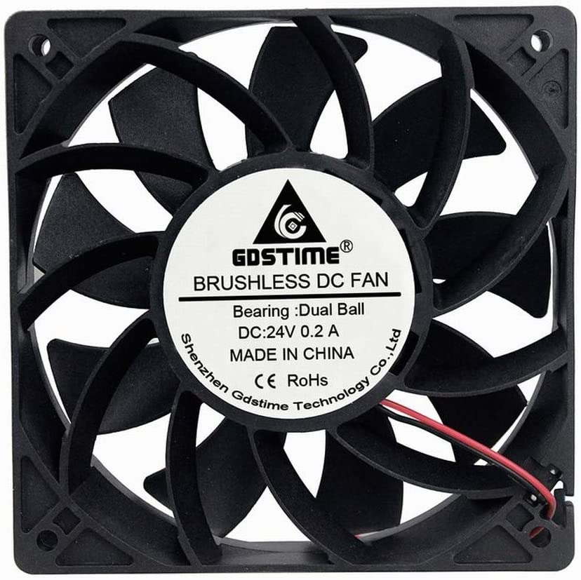 GDSTIME 24V DC Brushless Cooling Fan, 120mm Case Fan, Dual Ball Bearings 120mm x 120mm x 25mm Cooler Fan