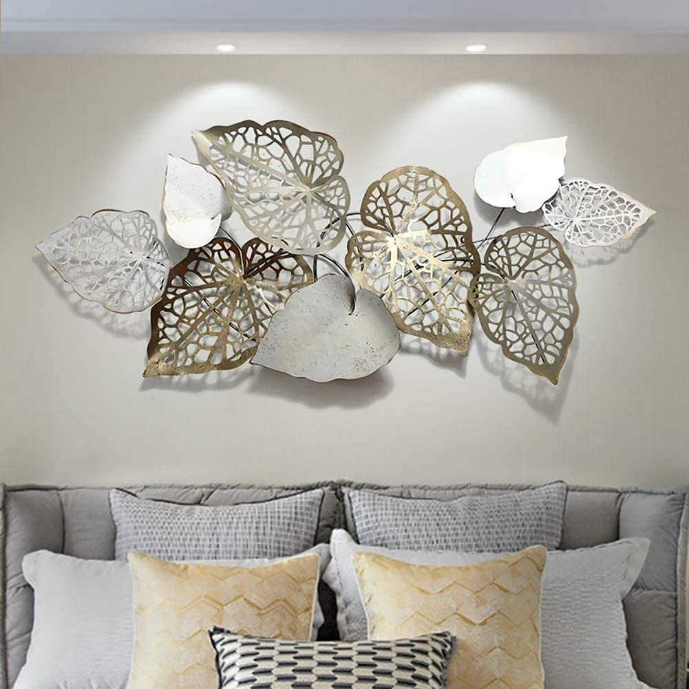 Creative Handmade Leaves Metal Wall Art, Nature Home Art Decoration & Modern Light Luxury Kitchen Gifts - for Study/Living Room/Bedroom/Artwork/Hotel