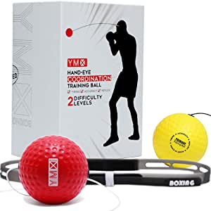 YMX BOXING Reflex Ball - 2 Reflex Balls with 1 Adjustable Headband, Great for Hand Eye Coordination Training
