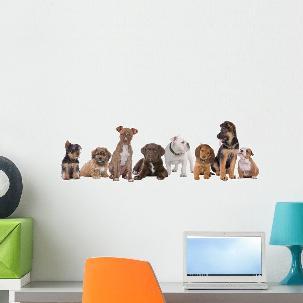 Wallmonkeys Large Group of Puppies Wall Decal Peel and Stick Graphic WM263659 (24 in W x 8 in H)