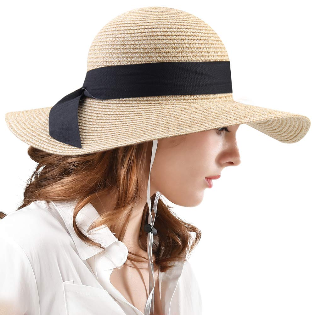 0ffbd5f9295 Womens Sun Straw Hat Wide Brim UPF 50 Summer Hat Foldable Roll up Floppy Beach  Hats for Women at Amazon Women s Clothing store