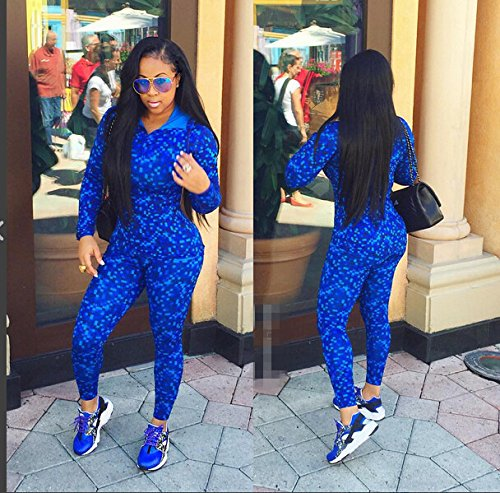 NEW motif Femme Bleu roi 2pièces Body Combinaison Club Wear Taille S 8–10EU36–38
