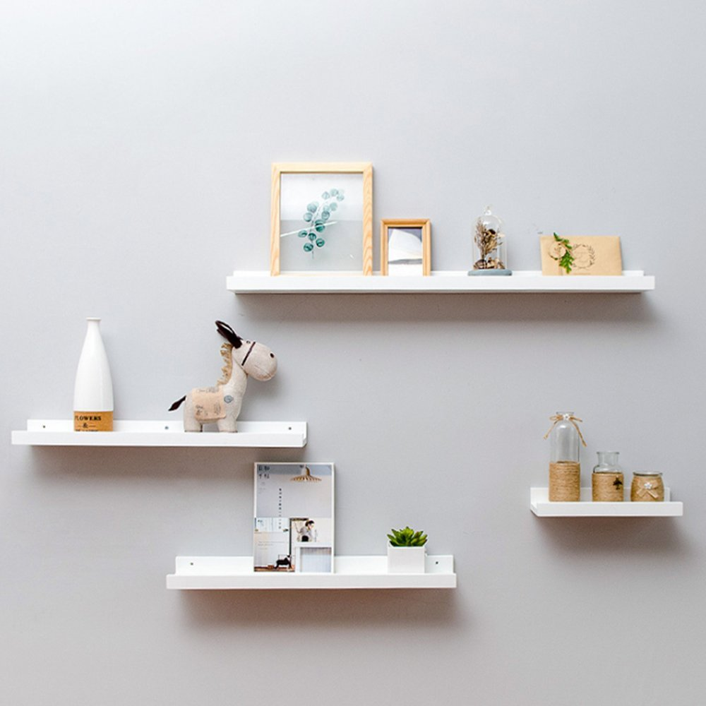 Haoren Wood Wall Mounted Floating Ledge Shelf Shelves for Picture Books Decorations New (White, Middle) by Haoren (Image #3)