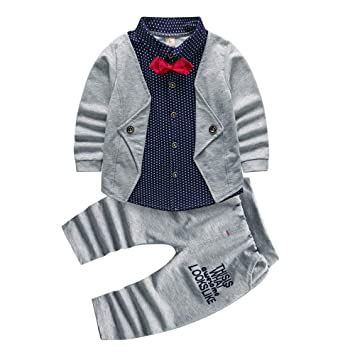 e7f143f981209 2pcs Baby Boy Dress Clothes Toddler Outfits Infant Tuxedo Formal Suits Set  Shirt + Pants (Grey, 24M): Amazon.in: Baby