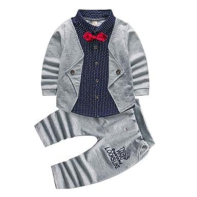 95f0f6212cd8 2pcs Baby Boy Dress Clothes Toddler Outfits Infant Tuxedo Formal Suits Set  Shirt + Pants (