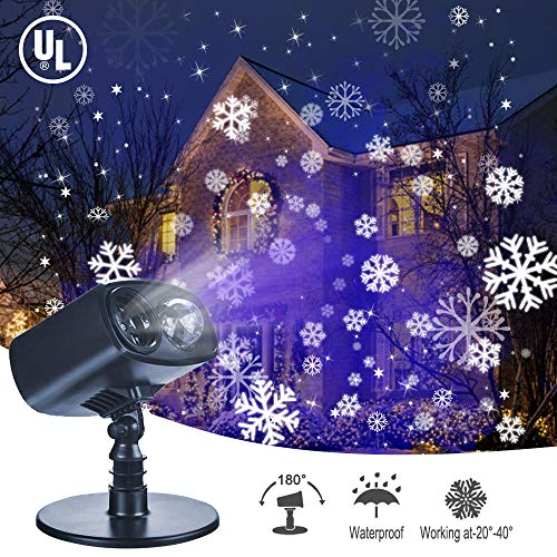 TOFU Christmas Projector Lights, 2-in-1 LED Landscape Lights Waterproof, Snowflake Lights Moving Patterns with Ocean Wave Outdoor Indoor Xmas Party Yard Garden Decorations, Snowflake Lights (Blue)