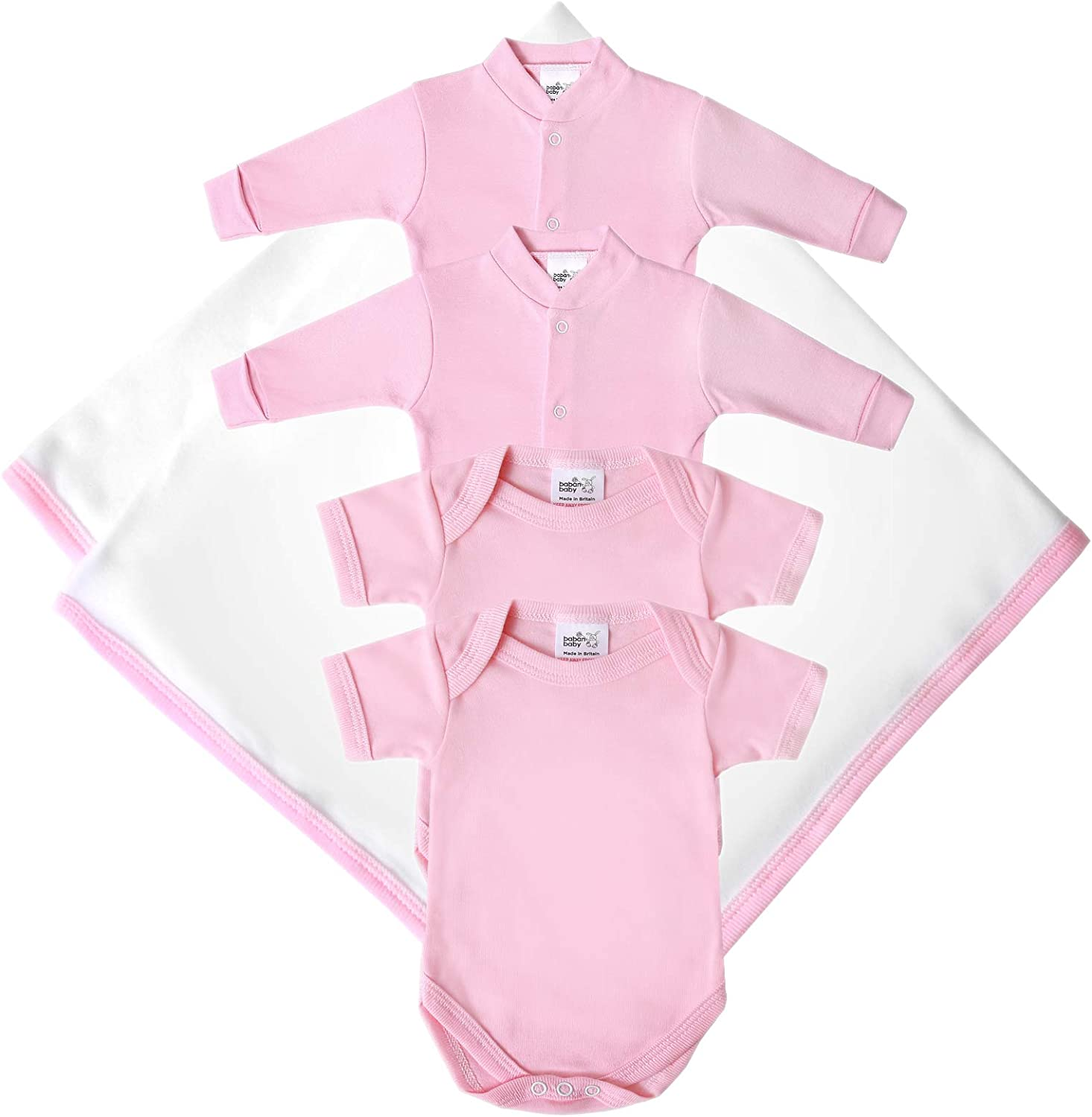 2 Bodysuits and a Blanket 2 Sleepsuits British Made Baby Clothing Gift Set Machine Washable 100/% Cotton