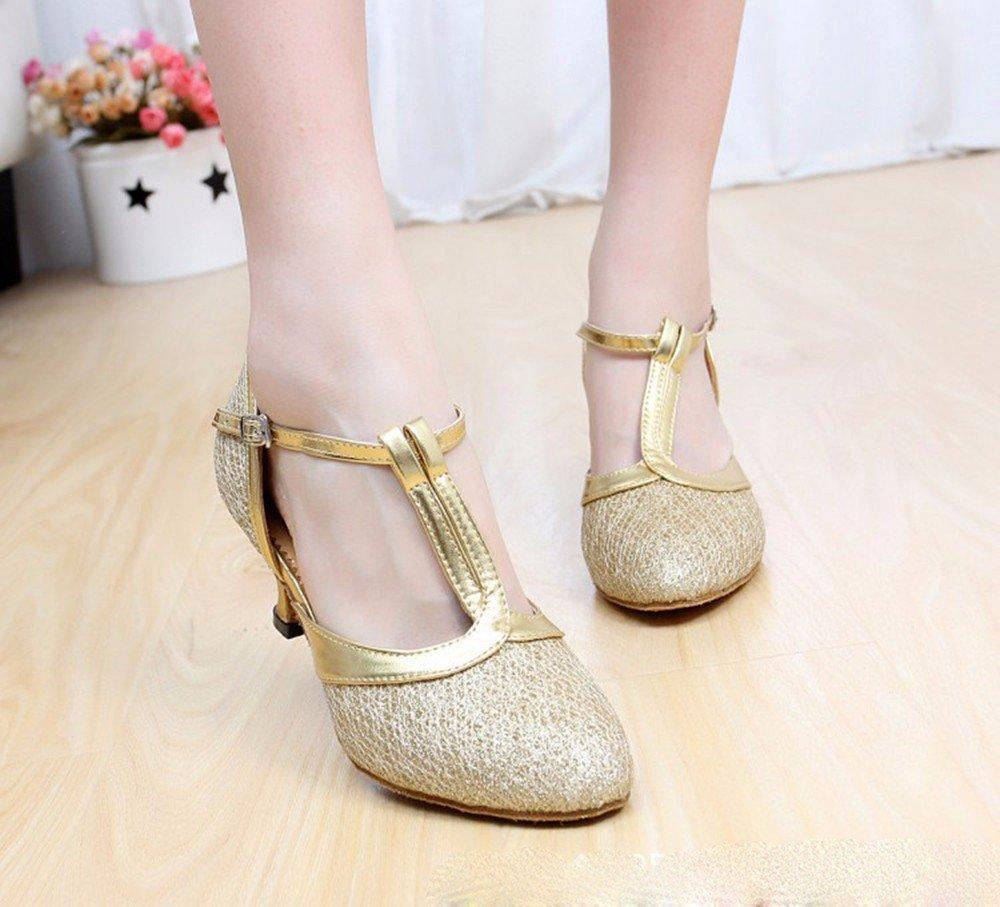 L'or US6.5-7 EU37 UK4.5-5 CN37 Masocking@ Femme Chaussures de Danse Sandales Les paillettes Chaussures de danse moderne européen voitureré