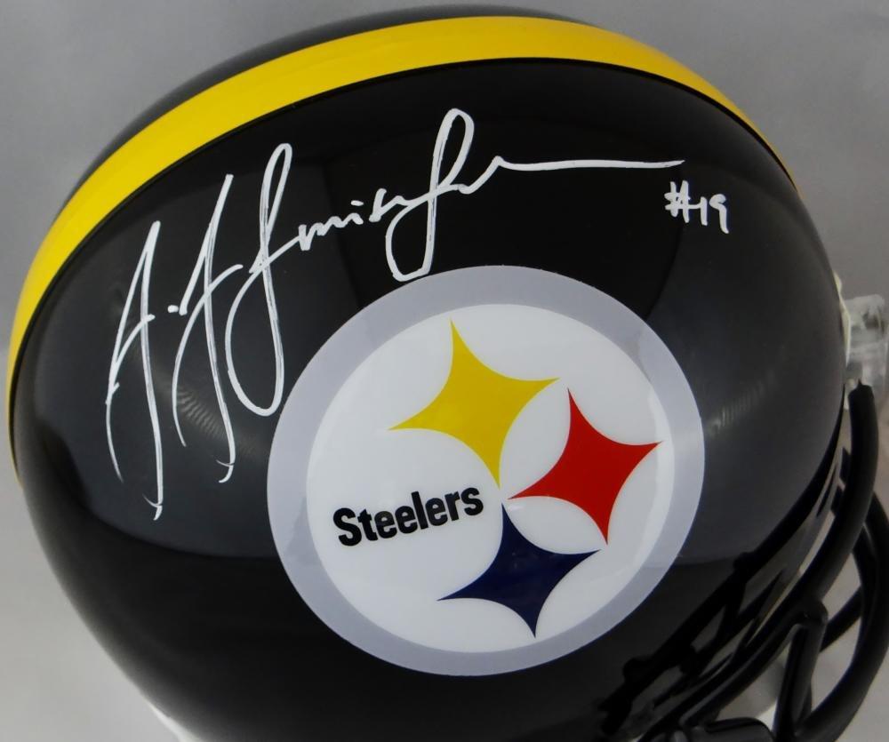 JuJu Smith Schuster Autographed Steelers F/S Helmet JSA W Auth White