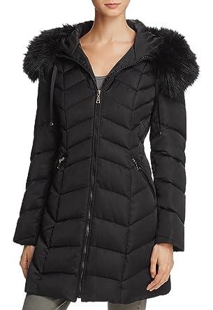 Black coat with fur trim