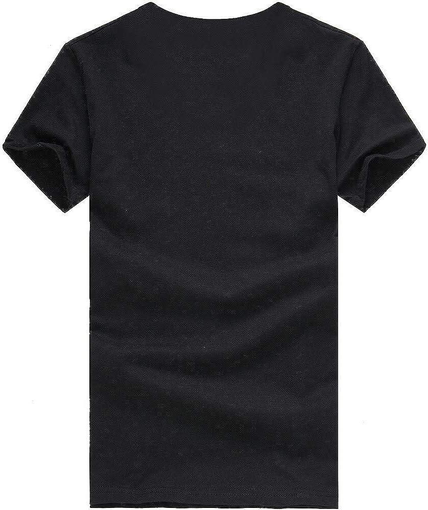 Yutao Mens Mens New Summer Casual Skull Printing Elastic Short Sleeve T-Shirt Tops Blouse