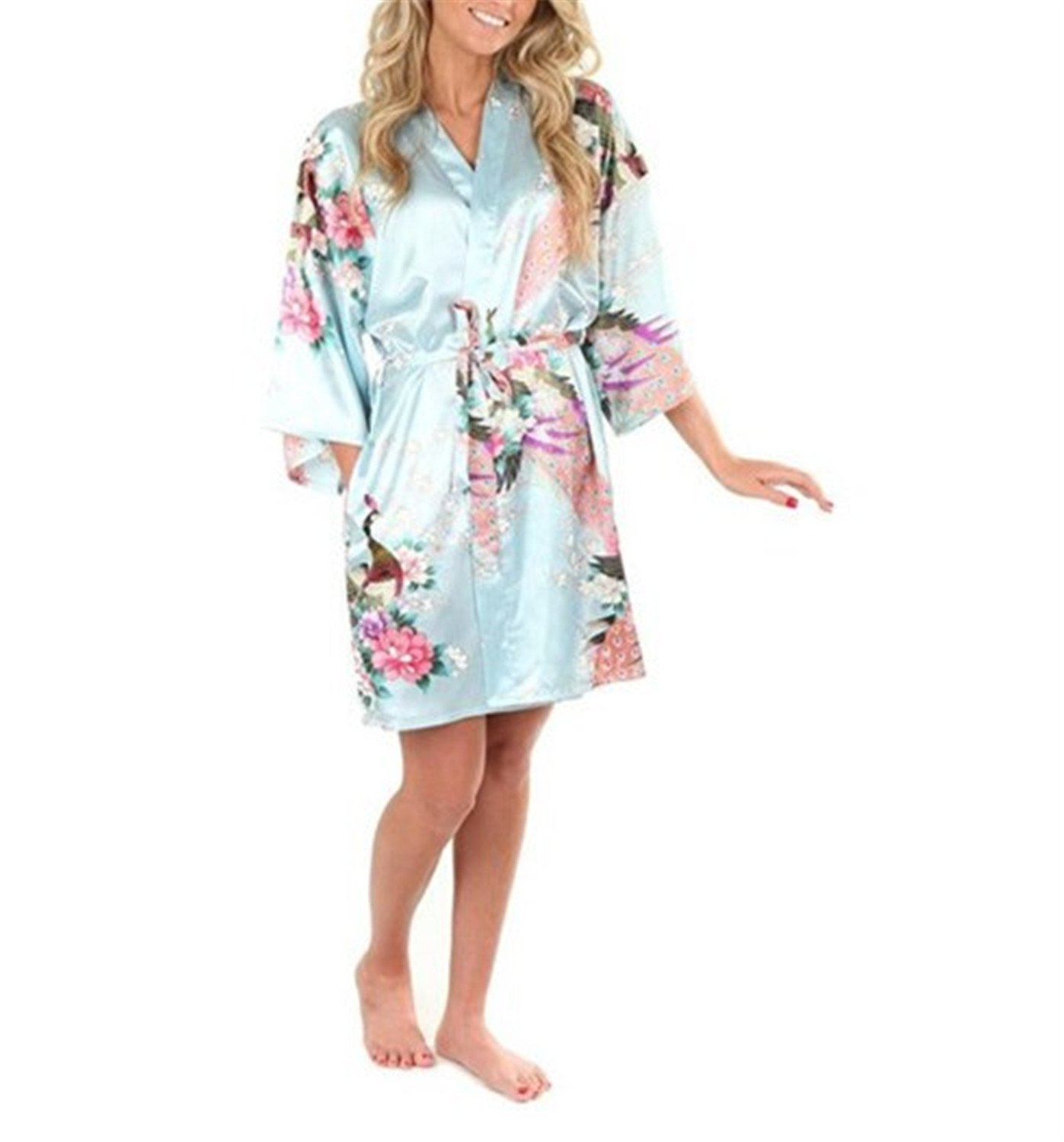 Nerefy Sexy White Printed Female Mini Silk Robe Rayon Kimono Yukata Night Dress at Amazon Womens Clothing store: