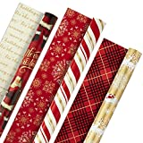 Health & Personal Care : Hallmark Christmas Reversible Wrapping Paper, Classic Santa (Pack of 3, 120 sq. ft. ttl) Red and Gold Snowflakes, Stripes, Plaid, Santa's Sleigh