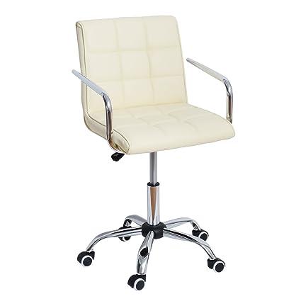 Amazon.com: HOMCOM Modern PU Leather Midback Small Office Chair  Cream White:  Kitchen U0026 Dining