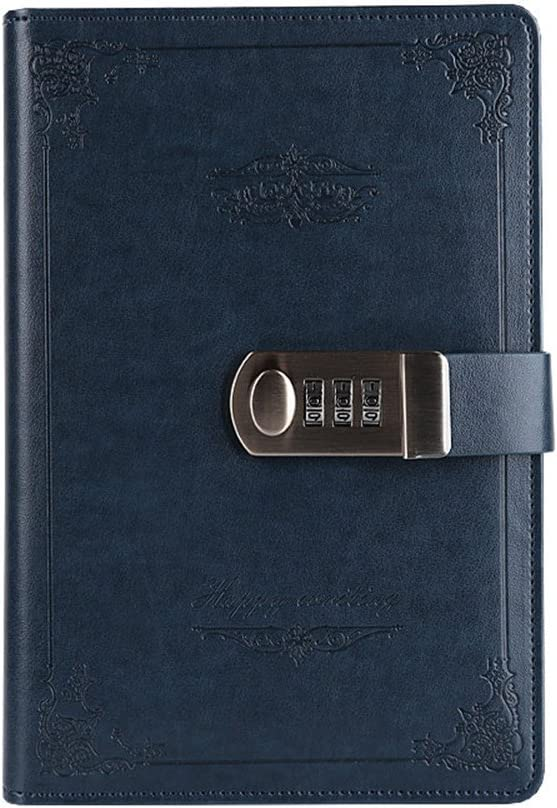 Digital Password Notebook Retro Privacy Journals Combination Lock diary Leather Binder Journal Locking Journal Diary (Blue)