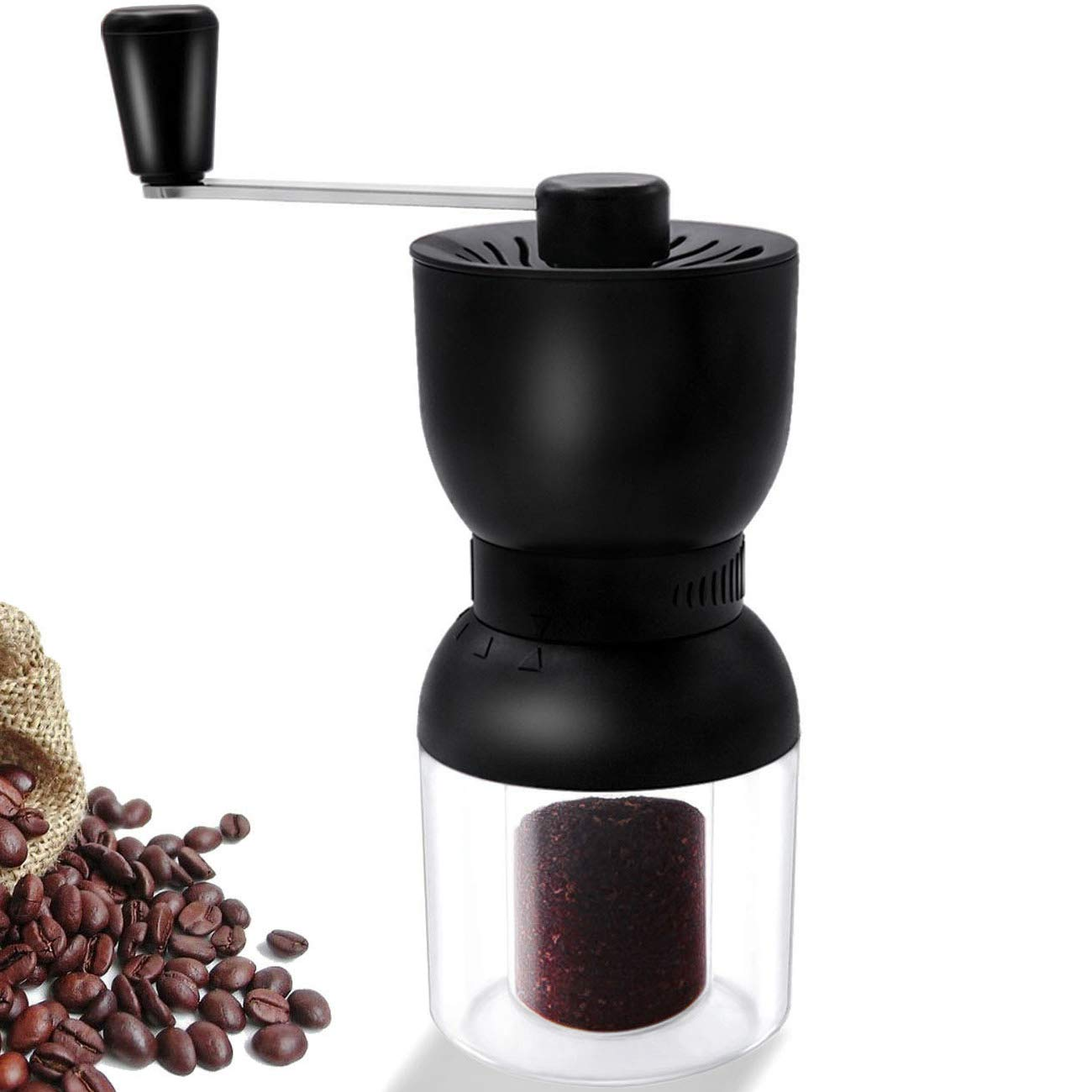 Coffee Grinder Manual, LHS Ceramic Coffee Mill with Fine Conical Ceramic Burrs Black,2 Size Clear Glass Jars Infinitely Adjustment Nut Grind Removable Hand Crank Coffee Mill Quiet and Portable for Travel by LHS