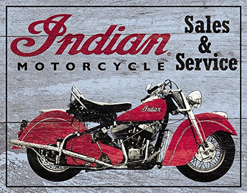 Indian Motorcycles Sales and Service Tin Sign 13 x 16in