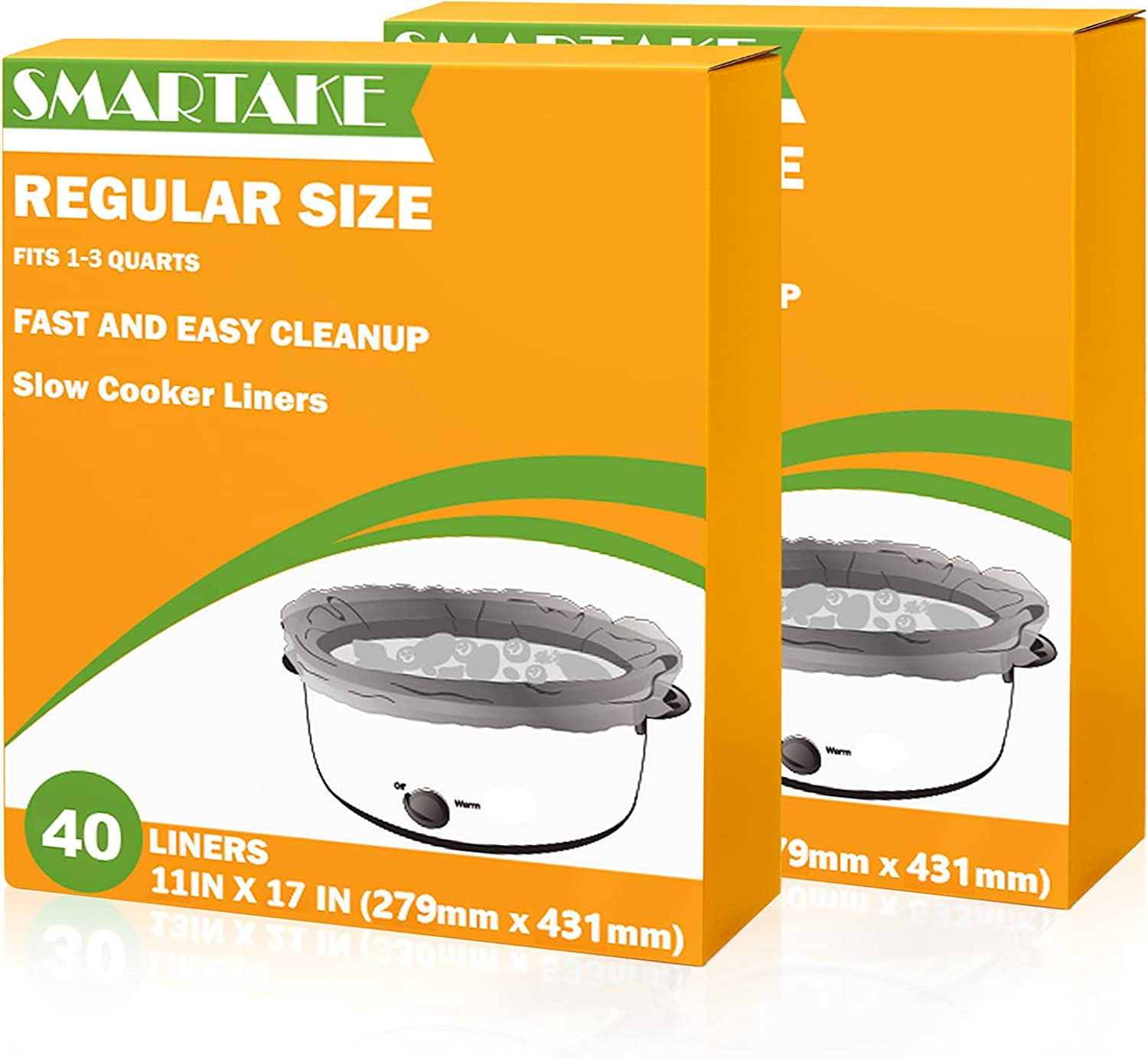 SMARTAKE Slow Cooker Liners, 11 × 17 Inches Disposable Cooking Bags, Easy Clean-Up Plastic Bags, Fit 1QT to 3QT, for Slow Cooker, Crockpot, Aluminum Cooking Trays, Pans, 2 Packs (80 Liners)