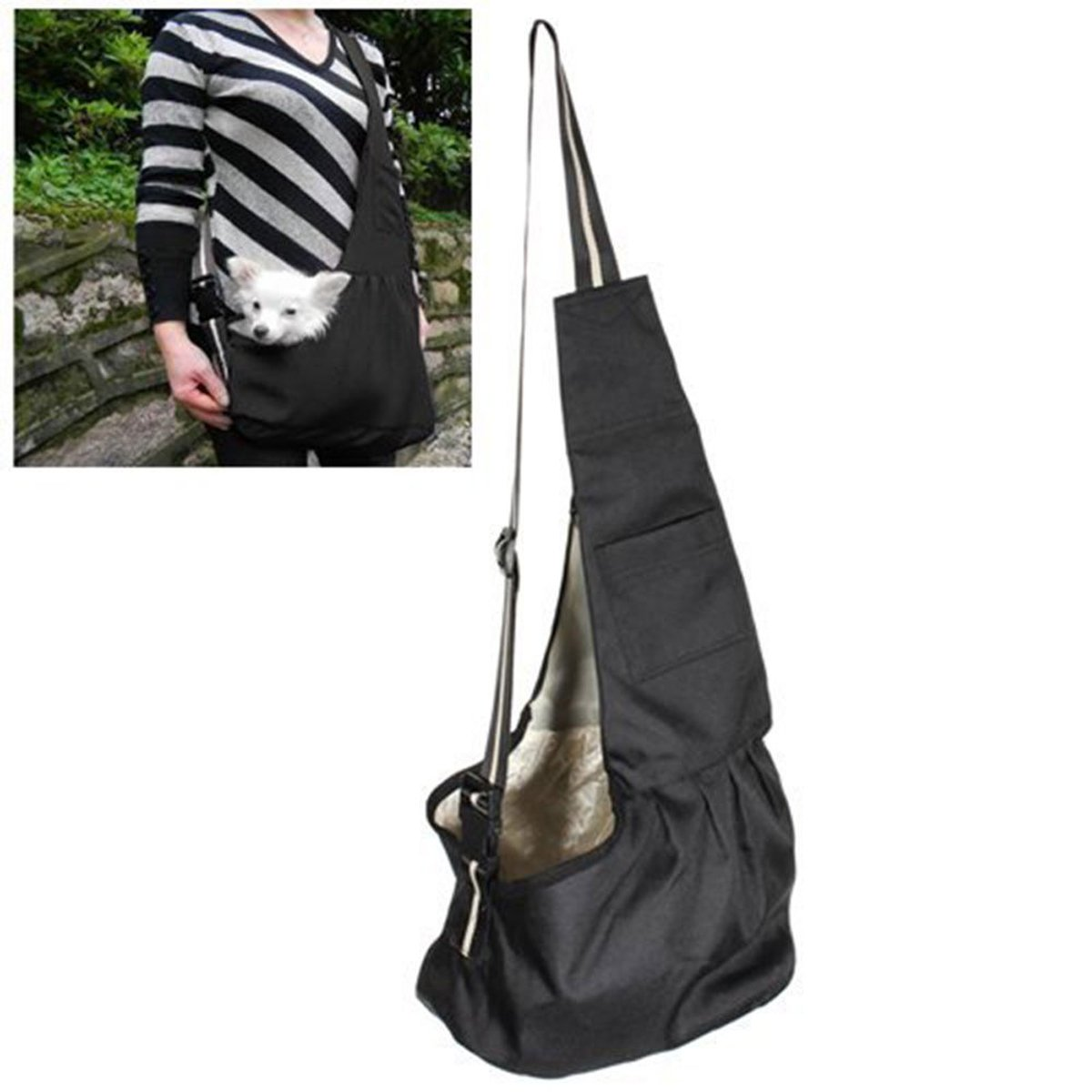 Prettysell Pet Dog Puppy Cat Carrier Bag Oxford Cloth Sling Single Shoulder Bag-Small,Black by Prettysell (Image #4)
