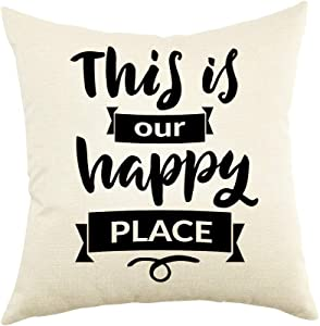 Ogiselestyle This is Our Happy Place Farmhouse Décor Family Decoration Sign Cotton Linen Home Decorative Throw Pillow Case Cushion Cover with Words for Sofa Couch 18