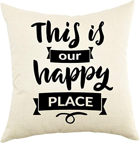 Amazon Com Ogiselestyle This Is Our Happy Place Farmhouse Décor Family Decoration Sign Cotton Linen Home Decorative Throw Pillow Case Cushion Cover With Words For Sofa Couch 18 X 18 Home Kitchen