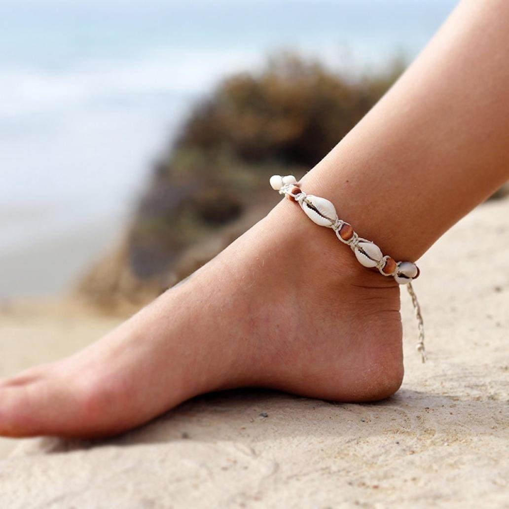 Sinwo Summer Women's Cowrie Beach Anklet Natural Shell and Wood Beads Bohemian Ankle Bracelet (A)