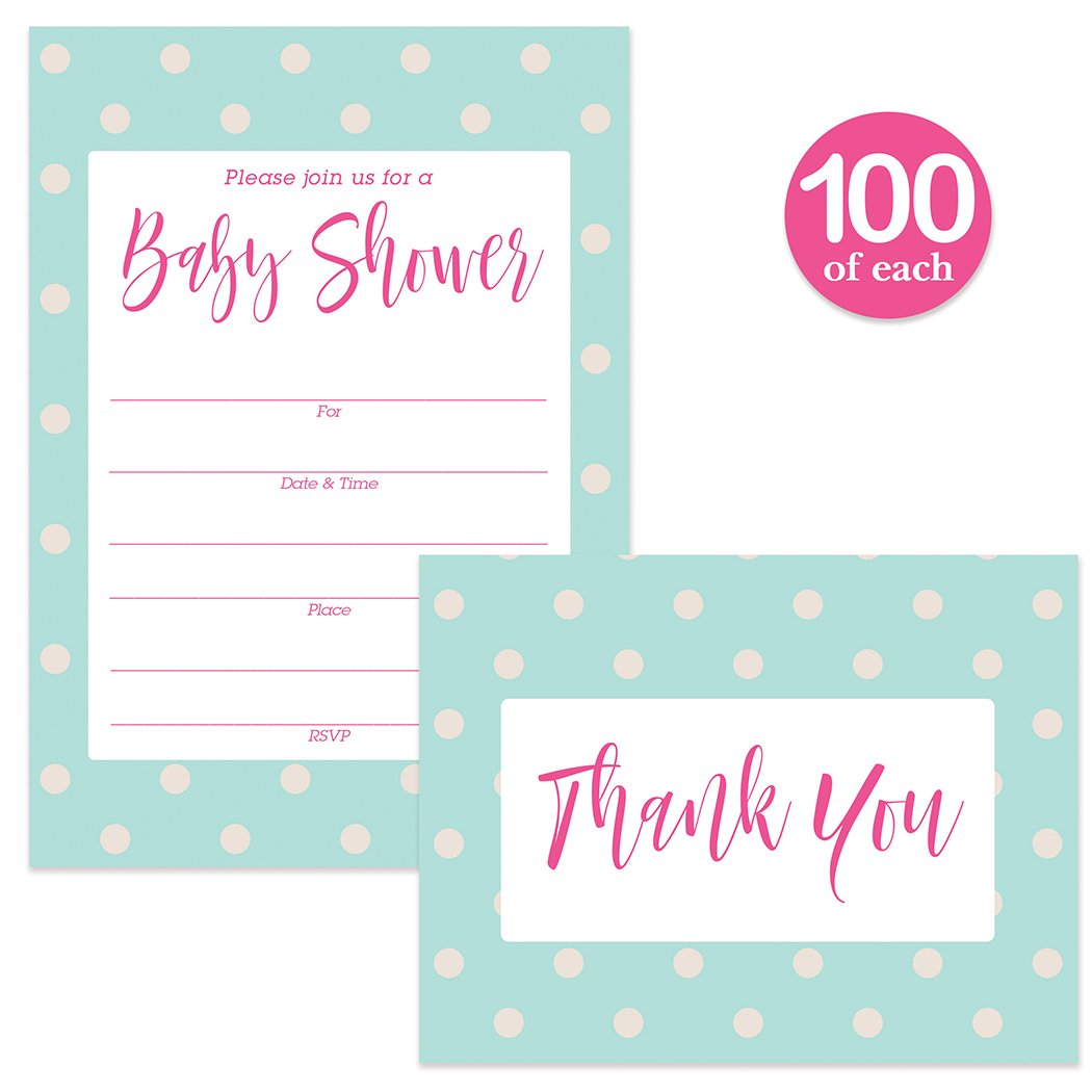 Baby Shower Invites & Thank You Cards Matched Set ( 100 of Each ) with Envelopes Neutral Blue & Pink Polka Dot Fun Mommy-to-Be Large Party Fill-in Invitations & Folded Thank You Notes Best Value Pair