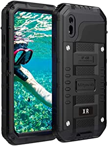 Mitywah Shockproof Case Compatible with iPhone XR, Waterproof Full Body Protective Cover Built-in Screen Protection Armor Military Defender Heavy Duty Metal Shell with Impact Resistant Bumpers, Black