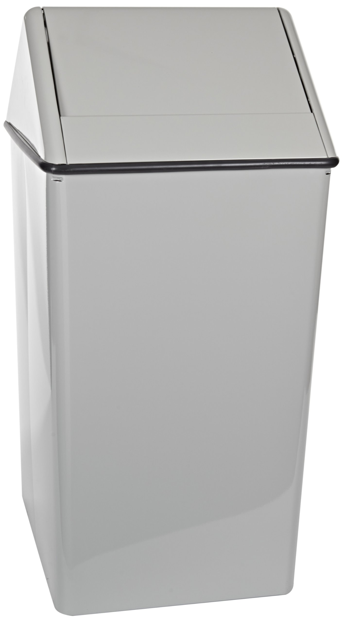 Witt Industries 1411HTSL Stainless Steel 21-Gallon Waste Watcher Hamper and Swing Top Receptacle, Square, 15'' Width x 15'' Depth x 38'' Height, Slate by Witt Industries