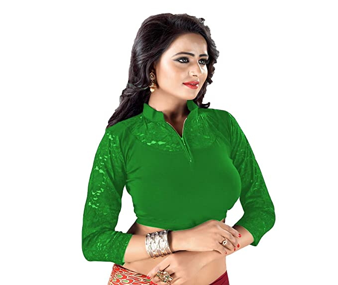 cbfd62f10bdec GOGURL Women s Cotton Lycra Full Stitched Full Sleeve Stretchable Blouse  (Green)