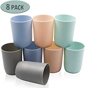 Plastic Water Tumbler, Unbreakable 10 Ounce Kids Juice Tumblers Reusable Drinkware Glasses Dishwasher Safe Drink Cup Set Bathroom Rinse Cup of 8 Assorted Colors
