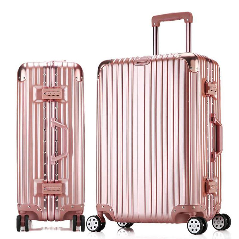 スーツケーストロリー手持ちのキャビン荷物ハードシェルトラベルバッグ軽量4スピナーホイール 46*25*61cm B07T9L33C6 Rose gold