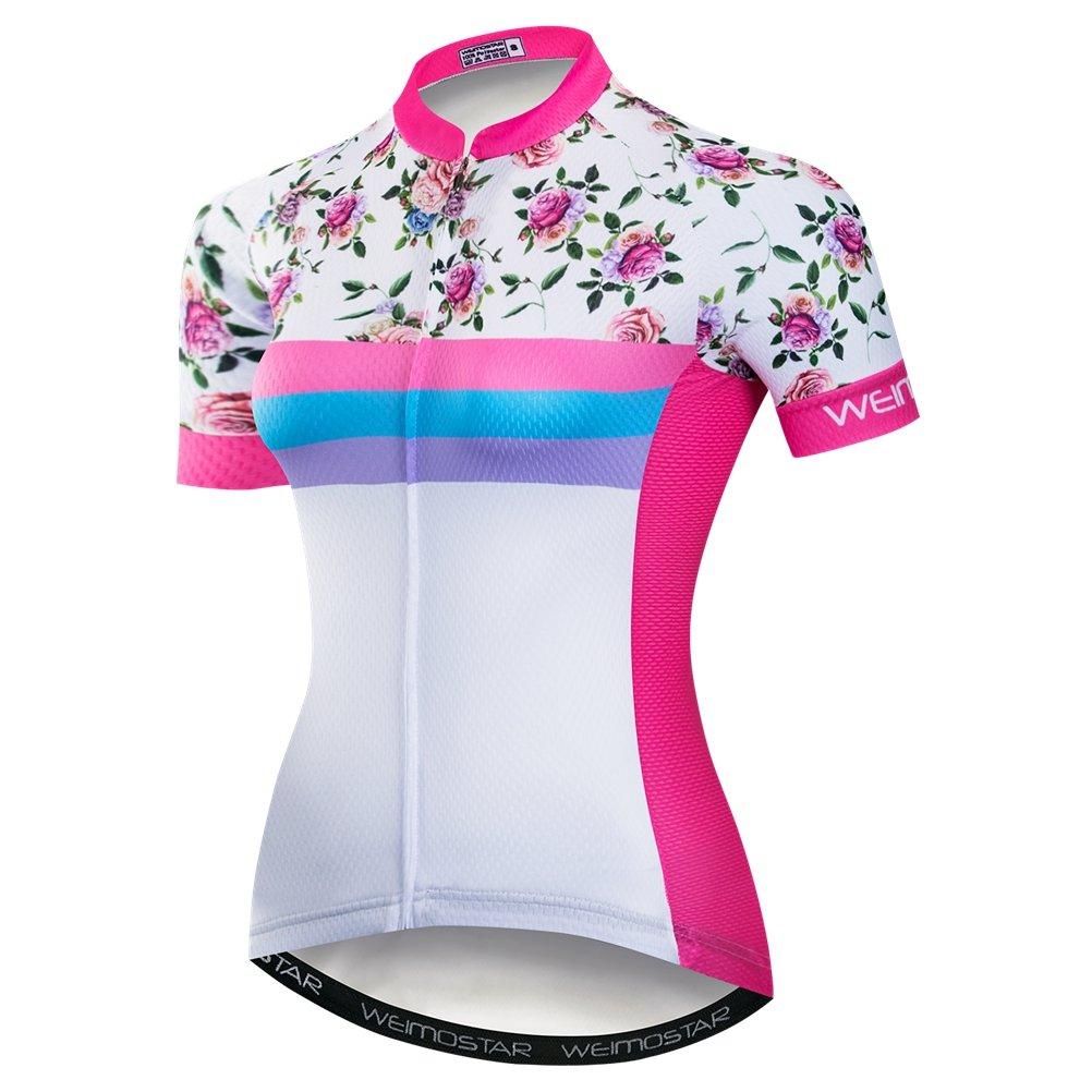 Weimomokey Women's Polyester Short Sleeve Cycling Jersey Bike Tops Biking Shirt