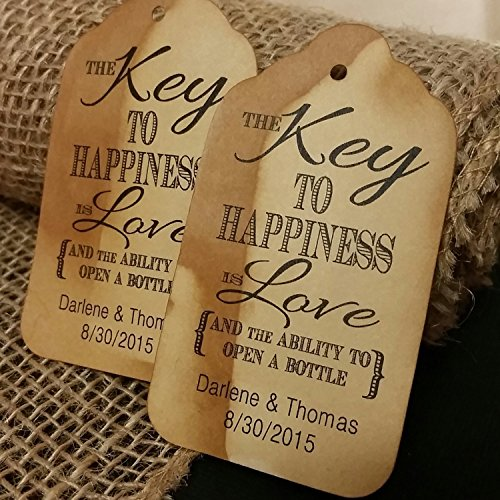 """Key to Happiness is Love and the ability to open a bottle Personalized White or Tea Stained Favor Tag sets of 50 Tags (my MEDIUM) 1 3/8"""" x 2 1/2"""""""
