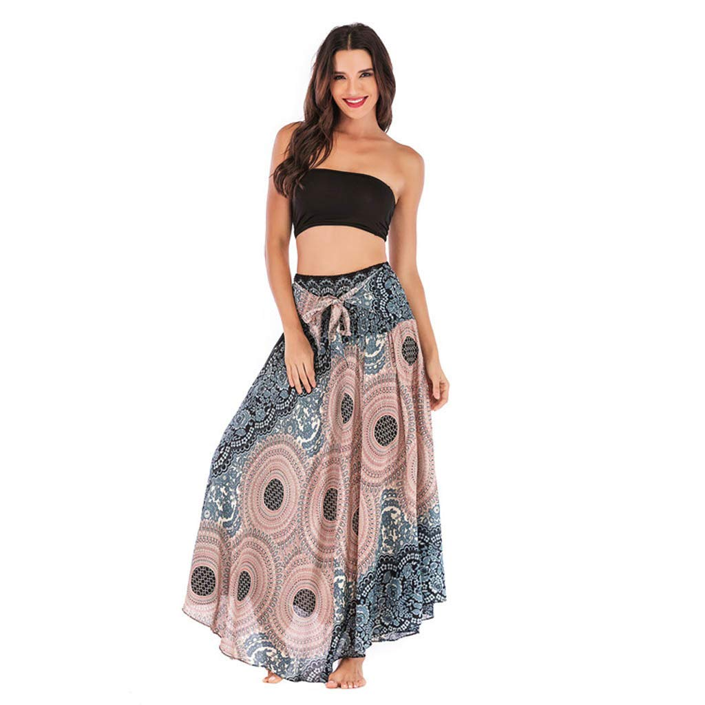 2 in 1 Maxi Skirt and Midi Dress,Womens Floral Print Long Maxi Skirt Bohemian Gypsy Hippie Style Clothing Loose Halter Dress