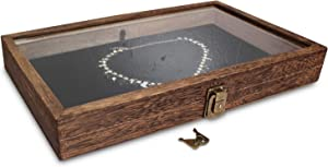 Mooca Wood Glass Top Jewelry Display Case, Wooden Jewelry Tray for Collectibles, Home Organization Accessories Storage Box with Metal Clasp and Black Velvet Pad, Brown