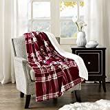 Comfort Spaces Sherpa/Plush Throw Blanket for Couch - 50x60 inches Lightweight Cozy Sofa Bed/Couch Throw for Beds Office Lap - Plaid - Cranberry