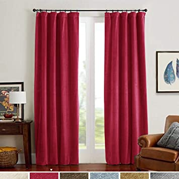 Velvet Curtains Burgundy Red for Living Room Thermal Insulated Home Decor  Rod Pocket Window Curtain Set for Bedroom 2 Panels 84 Inch