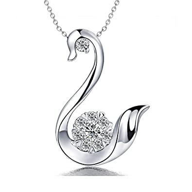 7f955443c18e1 Amazon.com: FAPPAC Swan Bird Pendant Necklace Enriched with ...