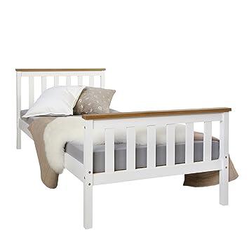 Homestyle4u 1842 Holzbett 90x200 Cm Weiss Bett Mit Lattenrost