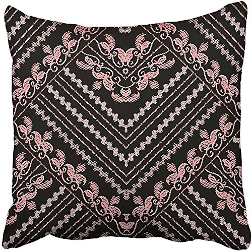 Throw Pillow Cover Polyester 18x18 Inch Decorative Embroidery Floral Gold Black With Vintage Embroidered Pink Flowers Swirl Leaves Zigzag Deco Cushion Pillowcase Print Sofa Home