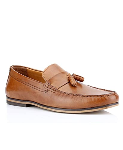 bc331bbda5a2 REDTAPE Woodcroft TAN mens Leather Slip On Tassel Casual Shoes   Amazon.co.uk  Shoes   Bags