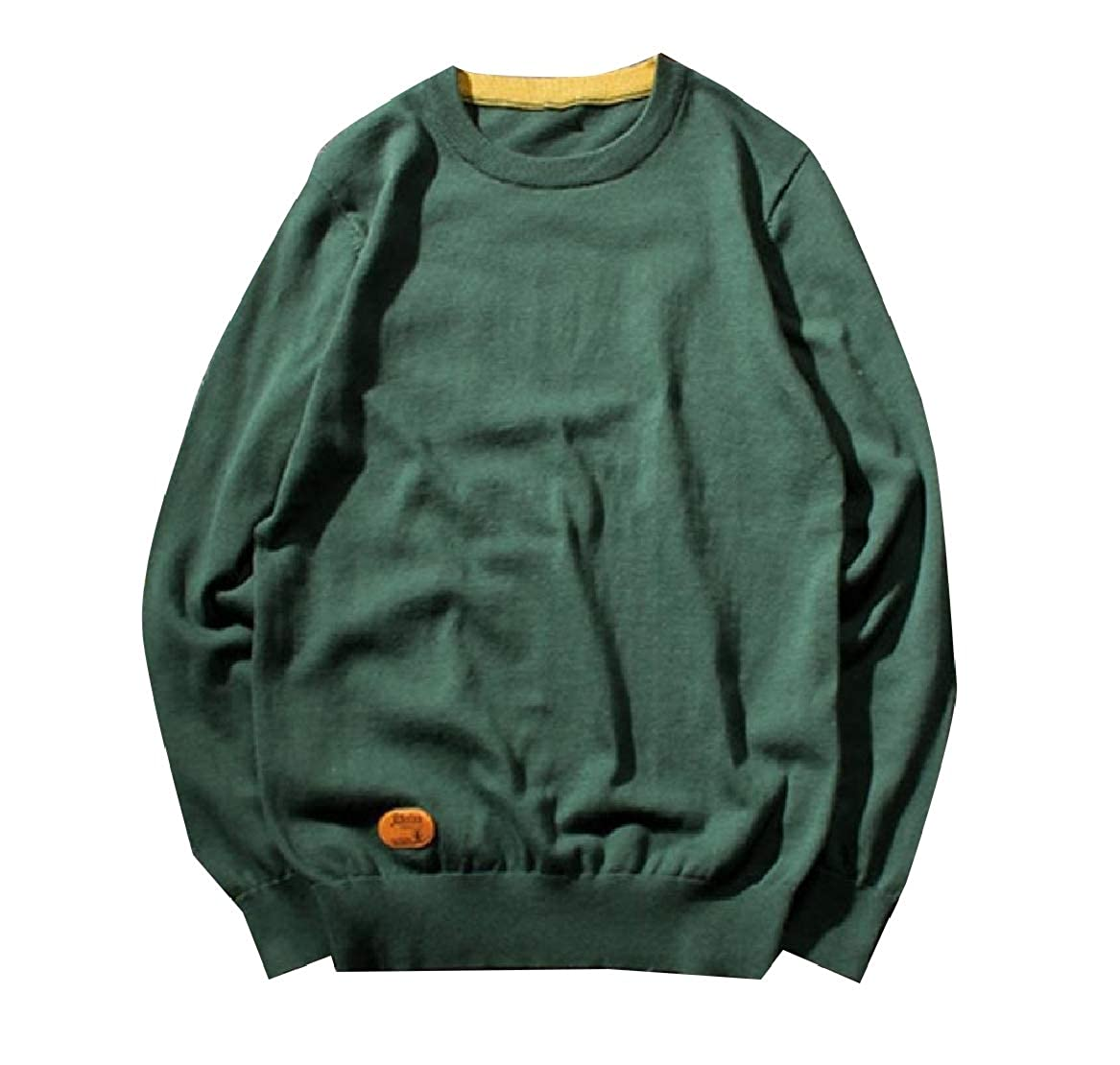 YUNY Mens Regular Relaxed Fit Relaxed-Fit Soft Knit Autumn Sweaters Army Green L